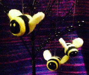 needle-felt bumblebee