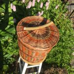 Colourful round Willow Basket with Lid